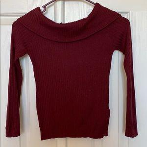 H & M s burgundy off shoulder top